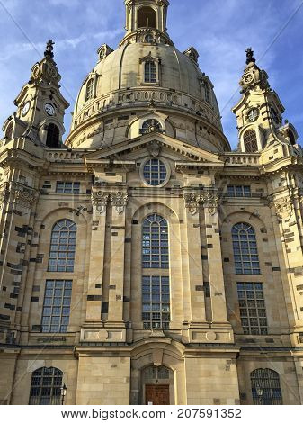 The historical building of the Church of Our Lady in Dresden after reconstruction