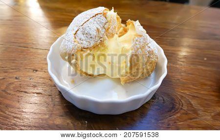 choux cream , eclair or cream puff