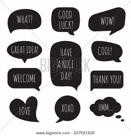 Speech bubbles with different phrases. Vector set of dialog windows.