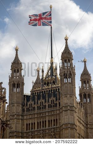 London 28th September 2017:- The Union Flag flying at the Palace of Westminster home to the British Parliament