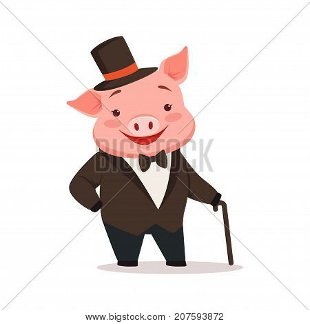 Cute happy pig dressed up in black tuxedo and hat standing with walking stick, funny cartoon animal dressed in human clothes vector Illustration isolated on a white background