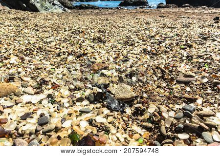 View of the sea glass on the Glass Beach in Fort Bragg, California