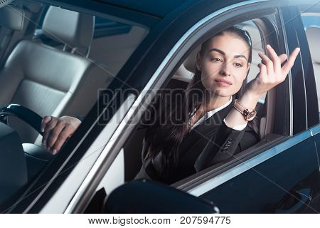 Woman Calling Drive-through Employee