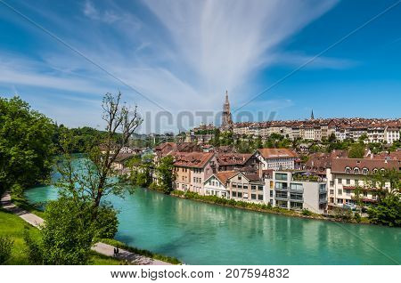 Bern Switzerland - May 26 2016: Panoramic view on the magnificent old town of Bern capital of Switzerland.