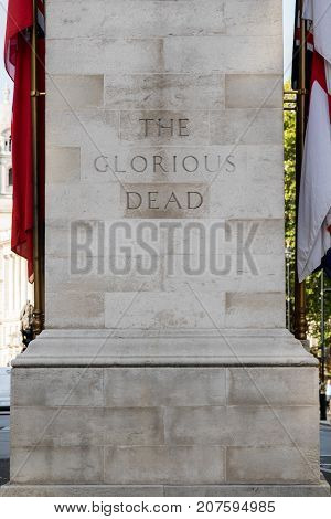 London 28th September 2017:-The Cenotaph Whitehall. Now designated the United Kingdom's official national war memorial.