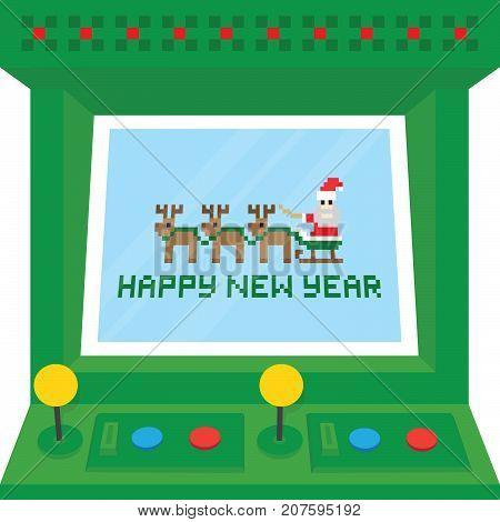 Happy new year arcade machine vector card illustration