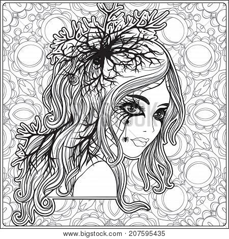 Portrait of a young beautiful girl in Halloween or Day of the Dead make up on decorative background. Outline hand drawing coloring page for the adult coloring book. Stock vector illustration.