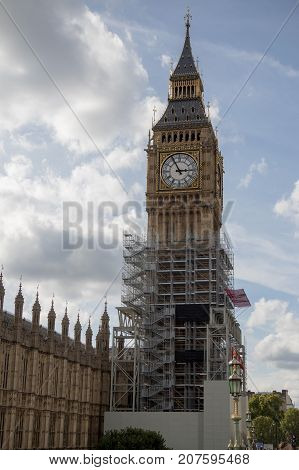 London, 28th September 2017:- The Palace of Westminster, home to the British Parliament with scaffolding due to renovation work on the UNESCO world heritage site.