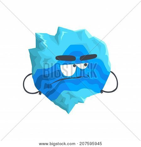 Cute humanized Neptune planet character, sphere with funny face cartoon vector Illustration isolated on a white background