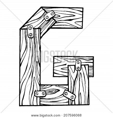 Wooden letter G engraving vector illustration. Font art. Scratch board style imitation. Hand drawn image.