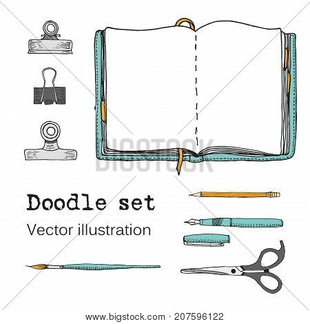 Vector Set of Sketch Notebooks Notepads and Diaries. Office stuff. Doodle stationery pen pencil scissors. Color hand drawn illustration. Cartoon Design elements for infographic. School