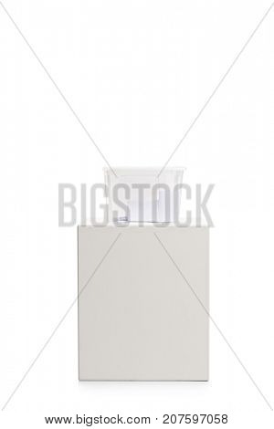 Ballot box filled with votes isolated on white background