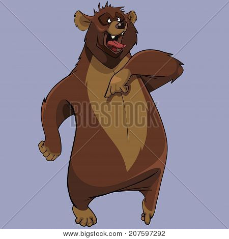 cartoon furious brown bear standing with open mouth poster