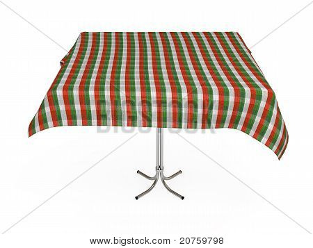 Table With Stripped Cloth, Green, Red And White Colors, Isolated On White