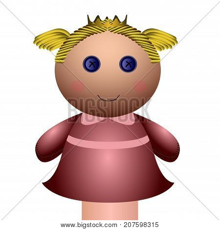 Isolated Girl Puppet