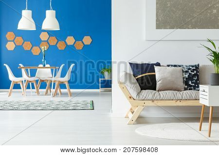 Blue Open Space With Sofa