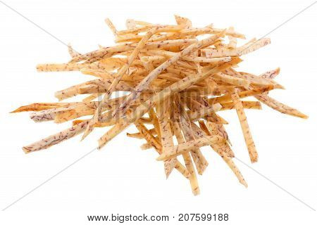 Fried Taro Slices Dip Into The Caramel Isolated On White Background