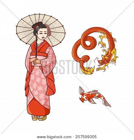 Asian japan, china oriental symbols concept set. Red dragon without wings, traditional koi carp, geisha woman with folding paper umbrella. Isolated flat vector illustration on a white background.