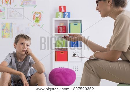 Thoughtful Boy During Meeting With Psychotherapist