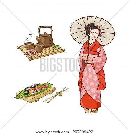 vector flat asian japan, china oriental symbols concept set. Geisha with folding fan, sushi with ginger, wasabi and kettle with caps for tea ceremony. Isolated illustration on a white background.