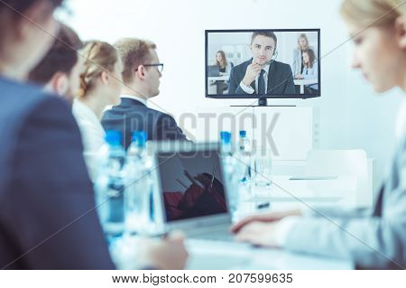 Teamworkers During Video Conference