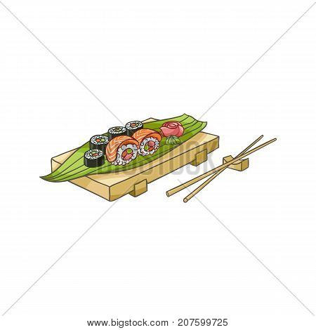 vector flat asian japan, china oriental symbols concept set. Sushi roll, sashimi with ginger, wasabi served at wooden plate with bamboo sticks. Isolated illustration on a white background.