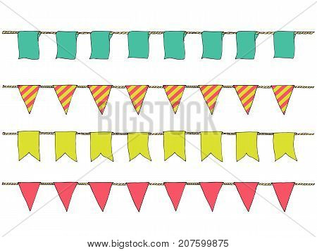 Hand Drawn Colorful Doodle Bunting Banners For Decoration. Doodle Banner Set, Bunting Flags, Border