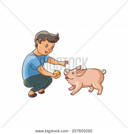 vector flat cartoon young teen boy feeding domestic animal - small piglet. Children at farm concept. Isolated illustration on a white background.