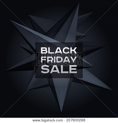 Black Friday Sale. Volume geometric shape, 3d levitation black crystal, creative low polygons dark object, vector design form for you business projects