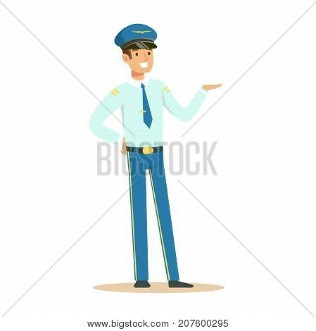 Cheerful pilot stands on isolated white background. Cheerful smiling man in uniform. White shirt and blue tie. Front view. Flat vector illustration. Cartoon design character. Captain of airplane.