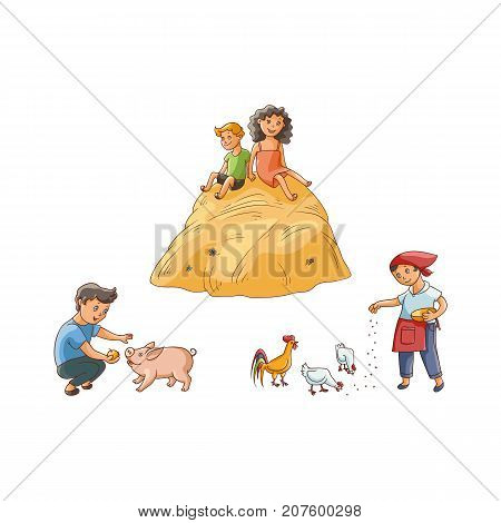 vector flat teen children at countryside scenes set. Boy feeding pig, girl feeding chickens and rooster, kids sitting at big haystack. Isolated illustration on a white background.