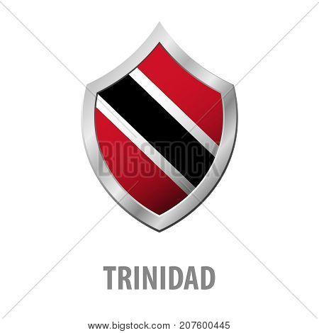 Trinidad Flag On Metal Shiny Shield Vector Illustration.