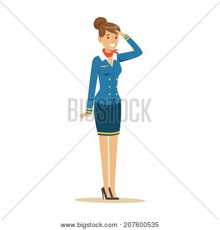 Young smiling stewardess in blue uniform stands on isolated white background. Stylish flight attendant clothes. Front view. Flat vector illustration. Cartoon design character. Airline crew member.