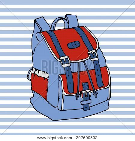 Hand drawn doodle backpack isolated on white background. Colorful icon. School decorative element. Back to school. Bag in cartoon style. Design for print. Vector illustration. 90 s style.