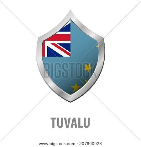 Tuvalu Flag On Metal Shiny Shield Vector Illustration.