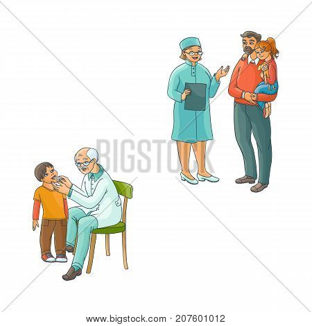 vector flat pediatricians and teen kids scenes set. Female doctor with clipboard talking to father holding teen girl in hands, grey-haired doctor measuring temperature of boy. Isolated illustration.