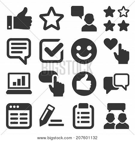 Customer Reviews and Feedback Icon Set. Vector illustration