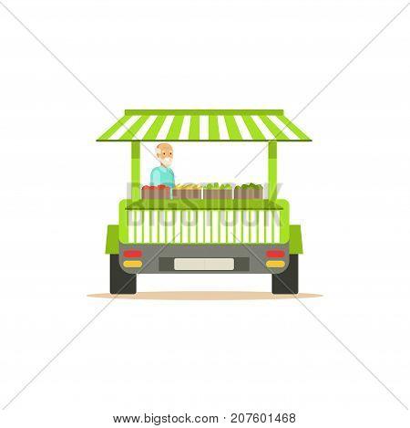Flat street food cart, green van fresh food. Outdoor cafe. Takeaway restaurant. Urban kiosk, market. Smiling old man seller, merchant, shopkeeper, vendor. Vector illustration isolated on white