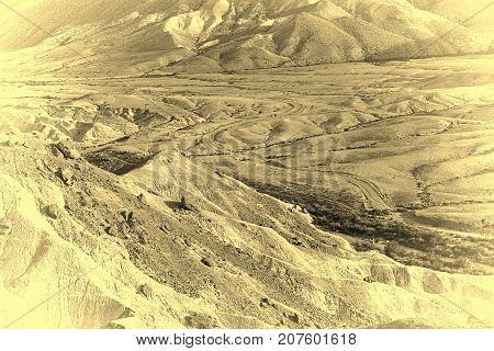 Stones of Negev Desert in Israel Retro Image Filtered Style