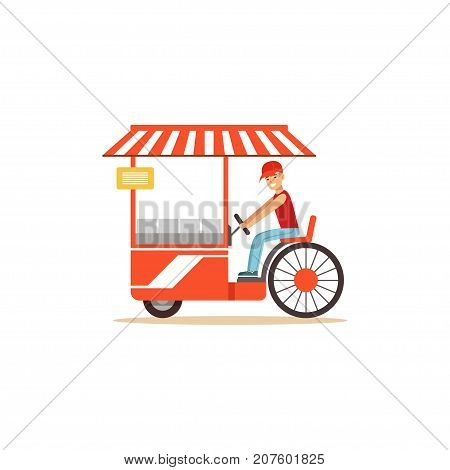 Flat street food cart. Driving little shop on wheels, outdoor cafe. Takeaway restaurant. Urban kiosk sell fast food. Smiling man seller, merchant, shopkeeper, vendor. Vector illustration isolated.