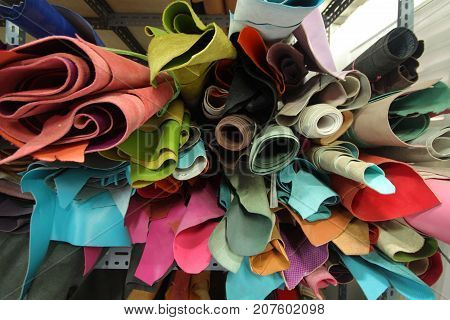 Leather selection / stock of leather , material for leather business manufacturing, fashion industry, backgrounds, customize made