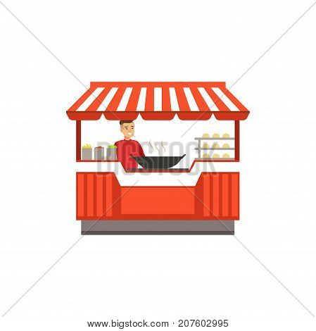 Detailed creative flat street food cart. Barbecue outdoor cafe. Takeaway restaurant. Urban kiosk. Smiling man seller, merchant, shopkeeper, vendor. Smiling man character. Vector illustration isolated.