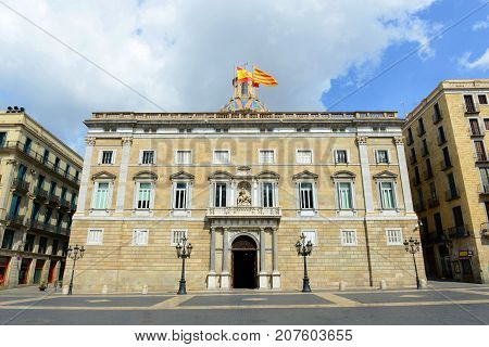 Front facade of Palau de la Generalitat de Catalunya at the Old City (Ciutat Vella) of Barcelona, Catalonia, Spain. This Renaissance style building dates back in medieval and now it houses the seat of government of Catalonia.