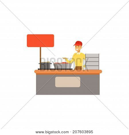 Detailed creative flat street food cart. Takeaway restaurant. Urban kiosk sell fast food, junk food. Outdoor cafe. Smiling man seller, merchant, shopkeeper, vendor. Vector illustration isolated.