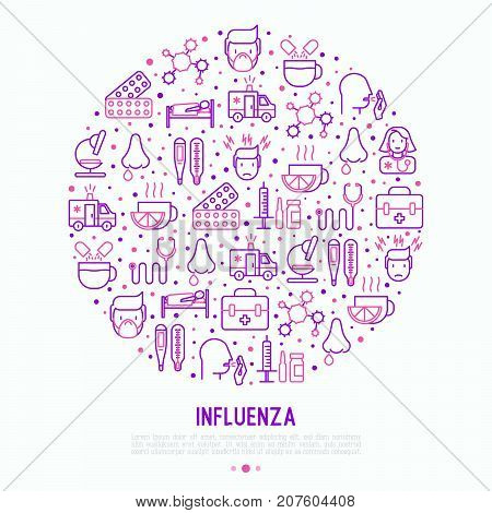 Influenza concept in circle with thin line icons of symptoms and treatments: runny nose, headache, pain in throat, temperature, pills, medicine. Vector illustration for banner, web page, print media.