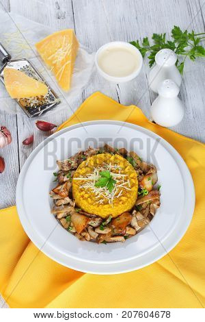 Saffron Creamy Risotto With Fried Porcini