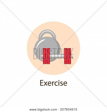 Exercise, Sport round flat style icon with dumbbell and kettle bell, wellbeing concept symbol, vector illustration isolated on white background. Sport, Physical Exercise round wellbeing, wellness icon