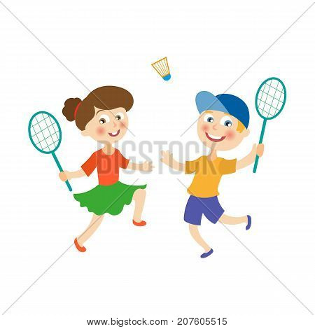 vector flat cartoon children at summer camp concept. Girl and boy playing badminton, shuttlecock holding rackets. Isolated illustration on a white background.