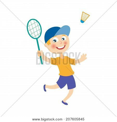 vector flat cartoon children at summer camp concept. Boy kid playing badminton, shuttlecock holding rackets. Isolated illustration on a white background.