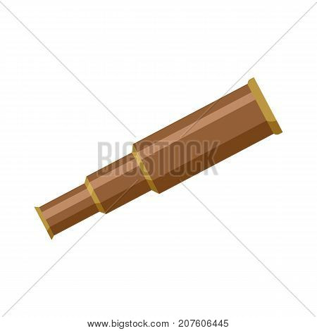 Brass metal sailor, pirate foldable telescope, spyglass, flat cartoon vector illustration isolated on white background. Simple flat cartoon brass hand held, portable telescope, spyglass